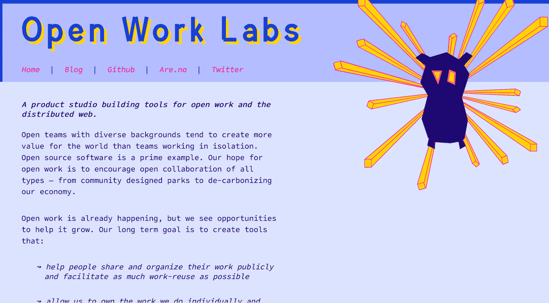 a screenshot of a website with a really cool owl logo